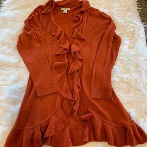 Orange ruffle duster sweater
